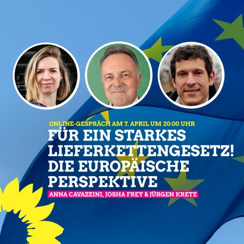 Sharepic der Veranstaltung mit Anna Cavazzini, Josha Frey und Jürgen Kretz vor einer EU-Flagge
