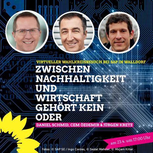 Sharepic der Veranstaltung mit Daniel Schmid, Cem Özdemir und Jürgen Kretz, Hintergrund: Computer-Platine