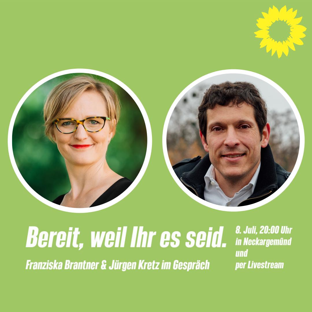 Sharepic der Veranstaltung mit Franziska Brantner und Jürgen Kretz