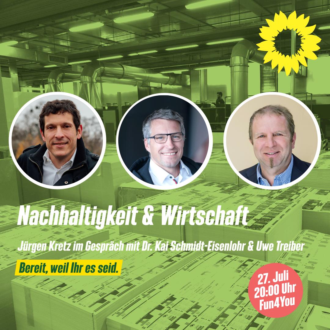 Sharepic der Veranstaltung mit Jürgen Kretz, Dr. Kai Schmidt-Eisenlohr und Uwe Treiber